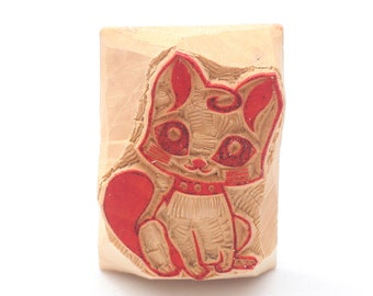 Cat stamp, Kitty Stamp,  wooden stamp, hand carved
