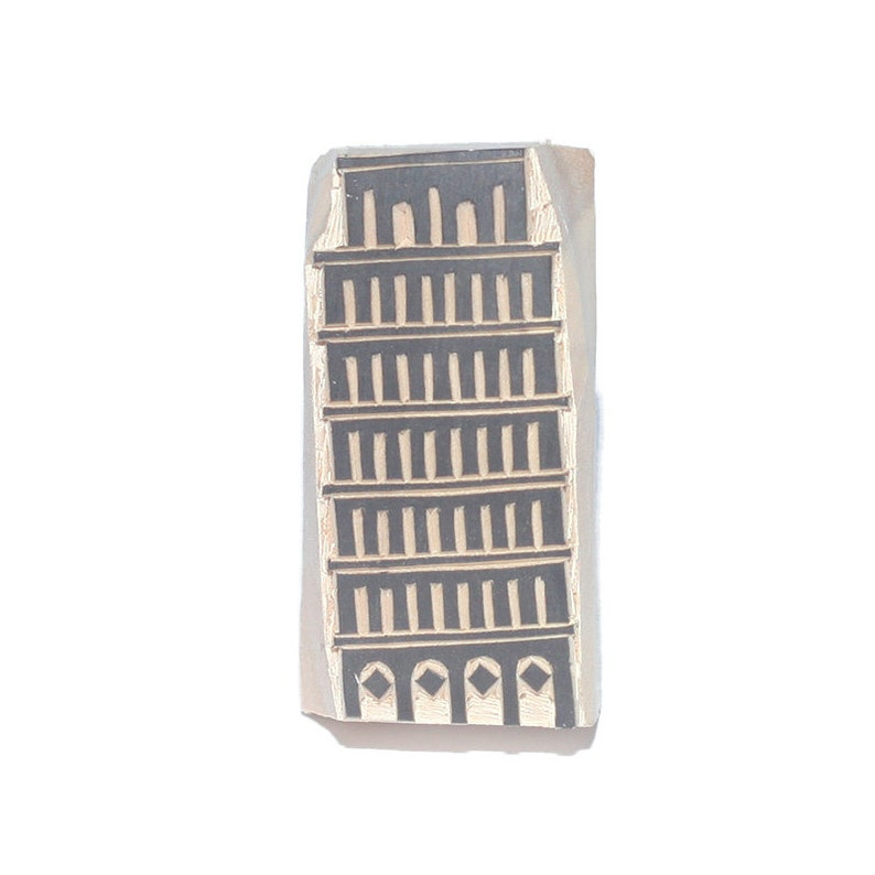 printing block Tower of Pisa stamp clay stamp pottery stamp tower stamp hand carved wooden stamp postcard stamp