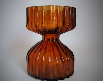 Wedgwood Topaz Glass Candlestick Holder, Amber Glass Vintage Candle Holder or Posy Vase, Designed by  Ronald Stennett-Willson  1970's