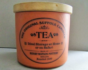Henry Watson Original Suffolk Terracotta Tea Canister, Caddy, Jar - Tea Canister with Wooden Lid, Vintage Henry Watson Pottery England