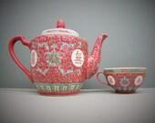 Pink Famille Rose Chinese Teapot, Vintage Jingdezhen Porcelain Teapot and Cup, Symbols Longevity
