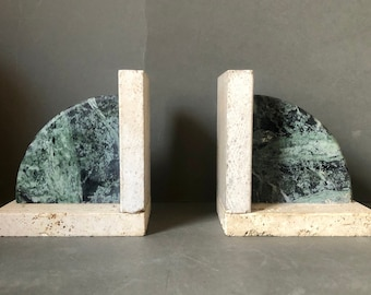 Art Deco Marble Pair Bookends,  Marble Green Veined on Stone, Graniture Book Ends