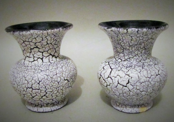 Pair Vintage German Pottery Crackle Glaze Vases Miniature Etsy