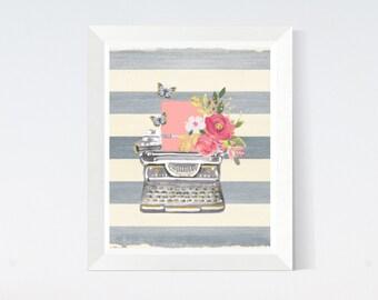 "Printable Art Watercolor ""Typewriter with flowers and butterflies"" Digital Download Décor Poster Plus Bonus"