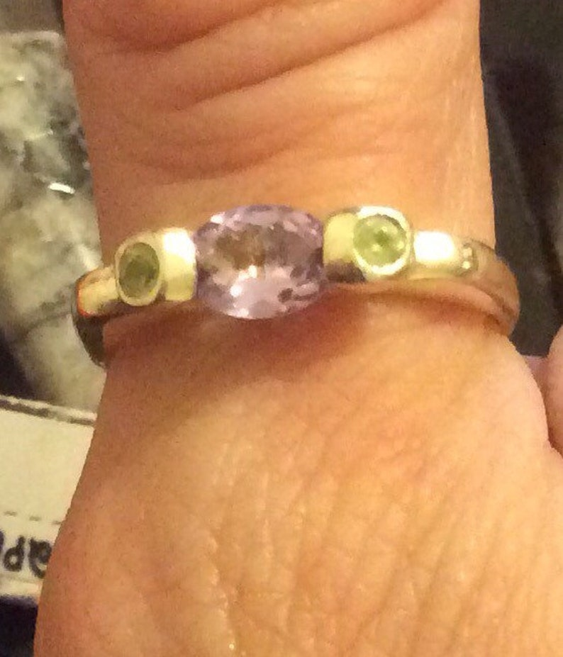 Size 10 faceted Amethyst and double Peridot multi gemstone sterling silver ring,extremely elegant design