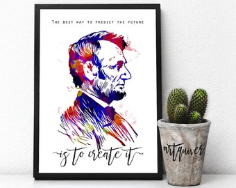 Inspirational Posters Abraham Lincoln Quotes Poster Famous About Life Motivational Wall Art Watercolor