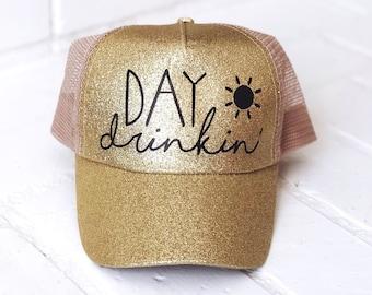 58ab8a06eb3 Glitter Trucker Hat- Day Drinking- Trucker Hats for Women- Glitter Hat-  Beach Hats- Custom Trucker Hat- Bachelorette Party Hat- Baseball Cap