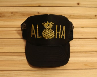 Aloha Hat// Aloha Trucker Hat// Pineapple Trucker Hat// Custom Trucker Hat// Custom Trucker Hats// Aloha Trucker Hat// Women's Trucker Hat//