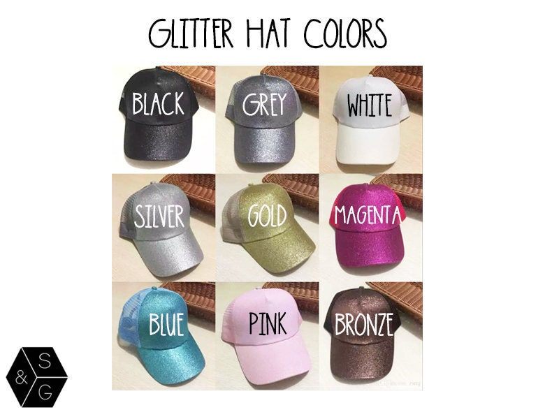 998665317 Glitter Trucker Hat- Glitter Hat- Custom Hat- Personalized Hat ...