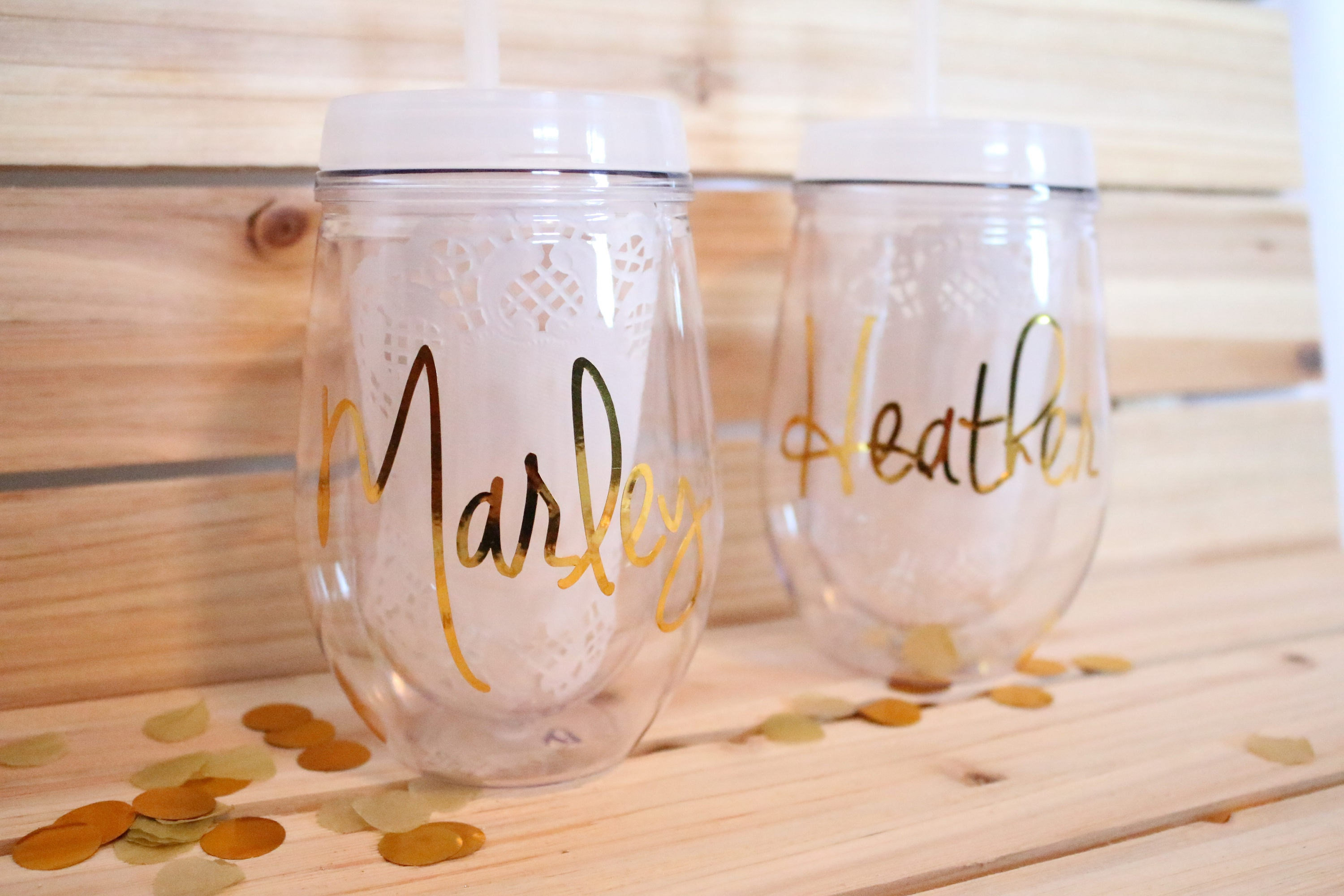 Wine Tumbler Plastic Personalized Gold Gift For Her 21st Birthday Bachelorette Party Bridesmaid