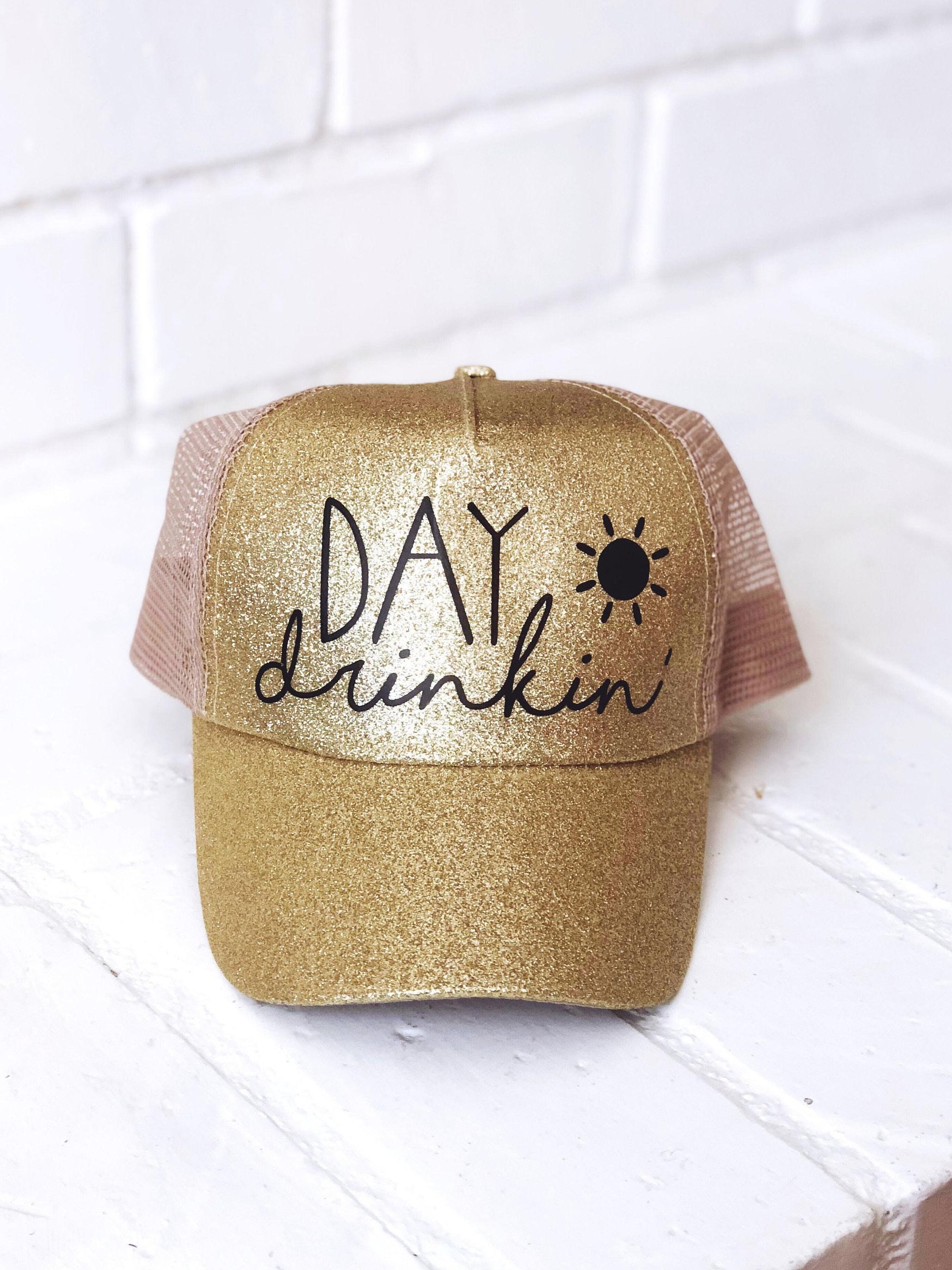 2866b88a Glitter Trucker Hat- Day Drinking- Trucker Hats for Women- Glitter Hat-  Beach Hats- Custom Trucker Hat- Bachelorette Party Hat- Baseball Cap