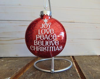 Christmas Tree Joy Love Peace Believe Christmas Glitter Ornament