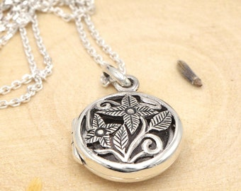 Sterling Silver Essential Oil Diffuser Locket Necklace ~ Aromatherapy Necklace with Lava Stone