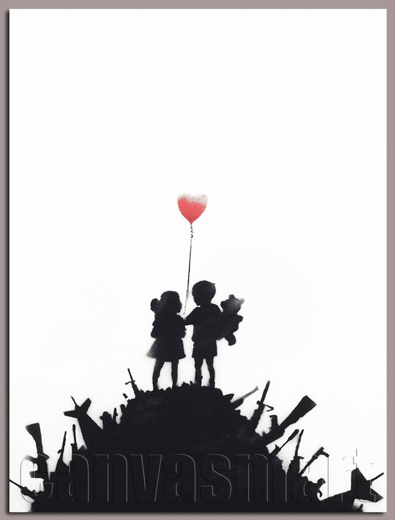 Kids On Guns Banksy Graffiti Stenciling Technique Spray Painting Dark  Humour Canvas Print Giclée Gallery Wrap Free Shipping 40% OFF SALE