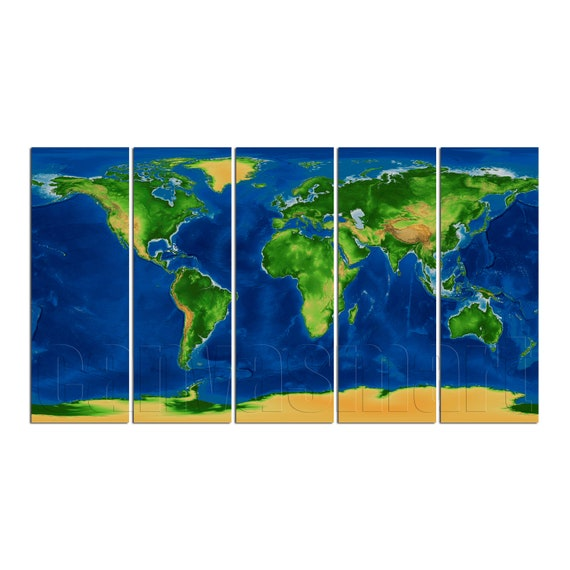 Physical World Map Diptych Triptych Multi Panel Large Canvas Print on world maps history, world maps religion, old world map sale, world maps france, world maps software, world map globe sale, world maps games, world maps art, world maps furniture, world maps books,