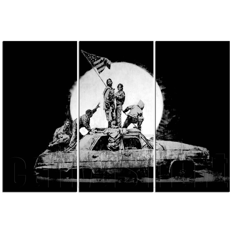 Flags Banksy Graffiti Mural Painting Stenciling Technique Underground  Culture Canvas Print Giclée Art Décor Free Shipping 40% OFF SALE