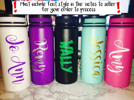 Custom name vinyl decal sticker laptop hydro flask water