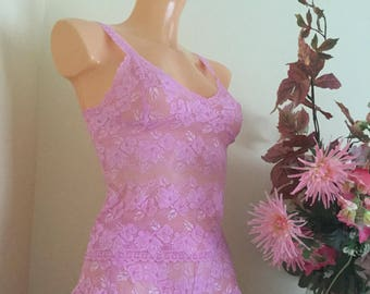 camisole set in sugar pink  stretch lace handmade by fidditchdesigns