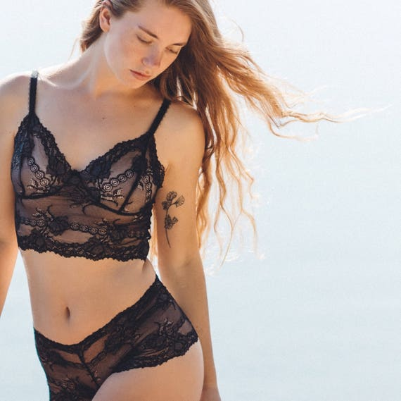 c6761cdf15b5e floral sheer bralette and French knicker set in black midnight