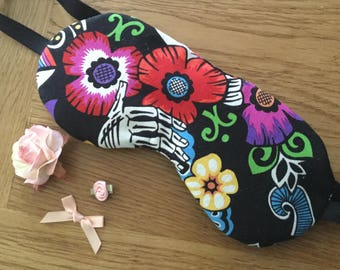 Sleep mask in Cotton Mexican flowers  fabric, padded eye mask