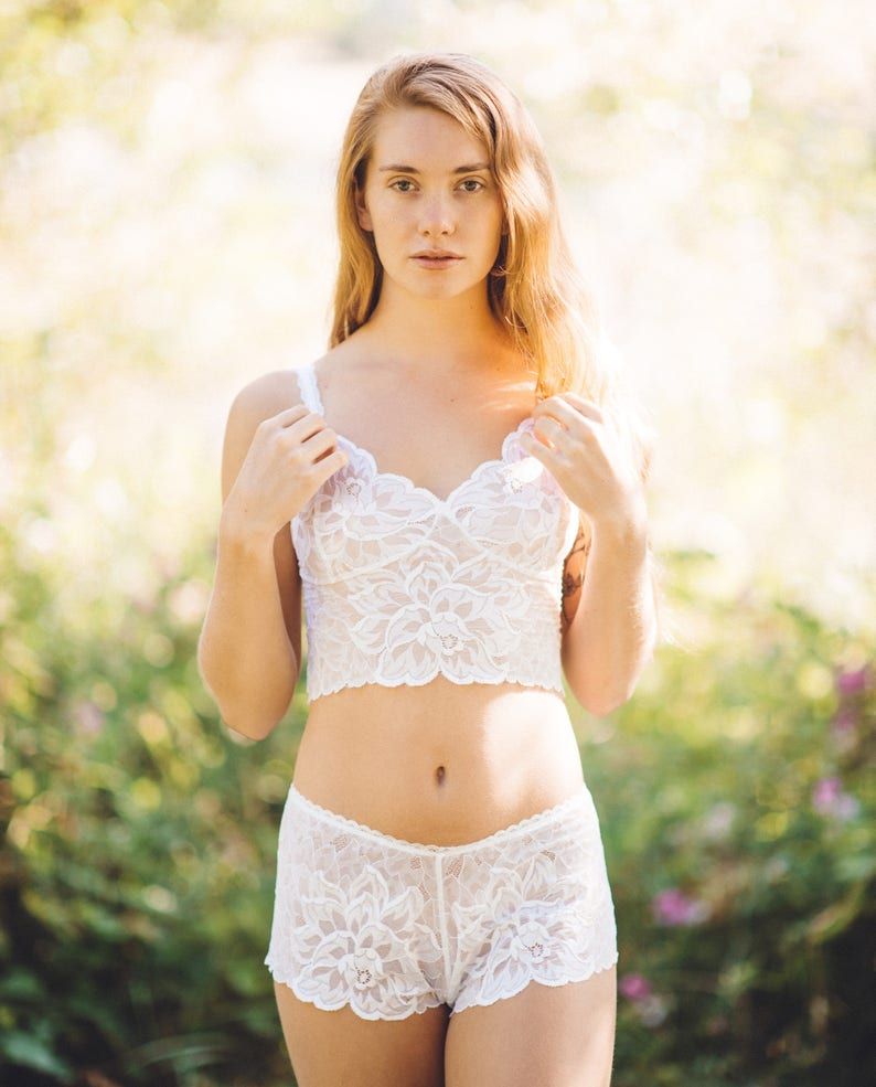 bdbf109eb White French knickers and cropped camisole bralette set in see