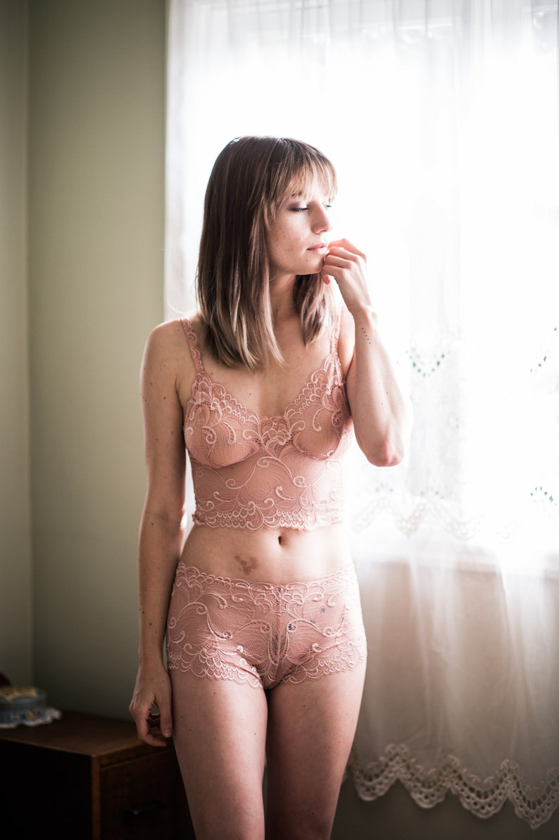 Nude sheer bralette and French knicker set in vintage silk pink stretch lace by fidditchdesigns