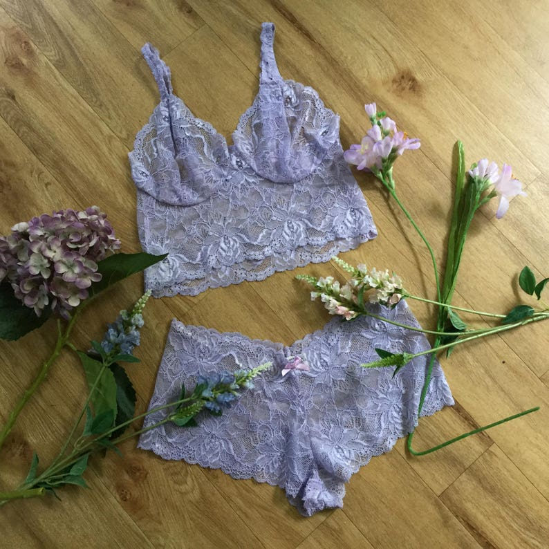 Soft pink and raspberry floral  bralette and French knicker set