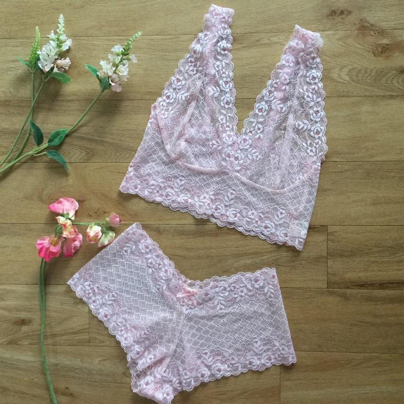 Peach pink bralette  crop top lace lingerie by Fidditch designs