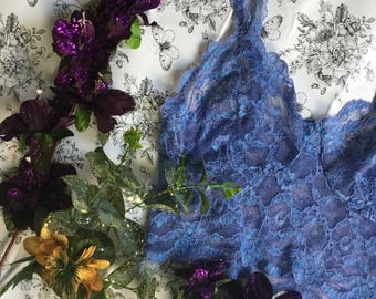 Sapphire blue floral lace  bralette and French knicker set