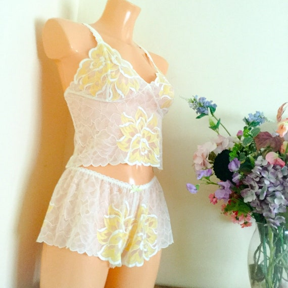 Soft peach with diamond pattern  French Cami Knickers Sizes 8 10 12 14 16 20 22