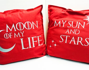 "Game of Thrones Pillow Covers- Moon of My Life, My Sun and Stars | Khal and Khaleesi | Mr and Mrs Gift | Couples gift - Large 20""x20"" Pillow"