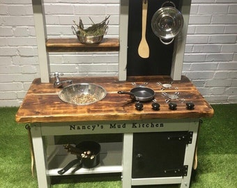 mud kitchen painted frame with tap