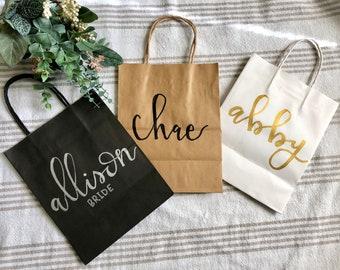 Custom Name Gift Bags | Personalized | Bridesmaid gift bag | Custom gift bag | Hand lettered | Wedding gift bag | Groomsmen gift bag & Gift Bags | Etsy