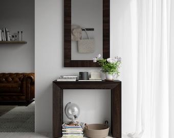 Console Table and Wall Mirror GIUDITTA - Dark Oak Finish
