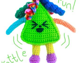 Triangle - Children's Smiley Amigurumi Toy - Handmade Crochet Toy - Plush Soft Toy - Rattle