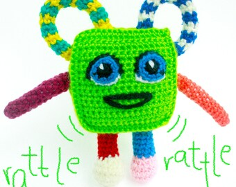 Green Square Amigurumi Toy - Baby Toy - Amigurumi Crochet Toy - Handmade Crochet Toy
