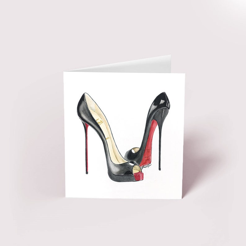 new concept f0dd2 e77ac Christian Louboutin Peep Toe Watercolor Blank Greeting Card