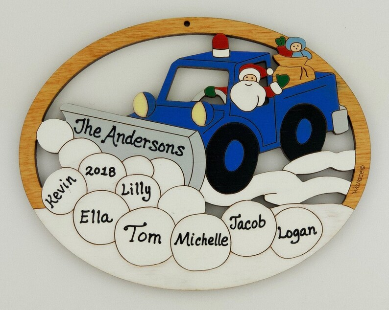 Hand Painted Personalized Snowplow Christmas Ornament Wood Laser Cut