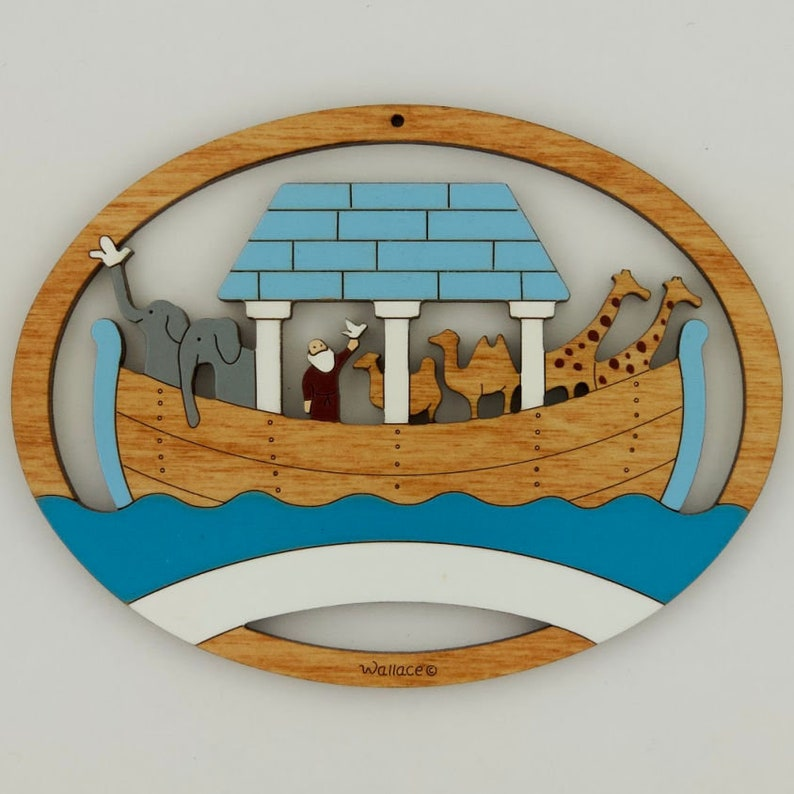 Hand Painted Personalized Noah/'s Ark Christmas Ornament Laser Cut Wood