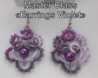 """Pattern """"Earrings Fiolet"""" (2 PDF files: ENG, RUS). Frivolite, tatting scheme."""