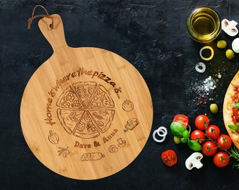 """Personalised 12"""" Pizza Paddle 35cm, Custom Pizza Board, Pizza Plate. Ideal gift for any occasion."""