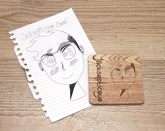 Coasters from Childs Drawing Gift Fathers Day grandad grandparents christmas personalised laser cut wooden bespoke