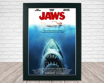 Jaws Movie Poster - Classic 70's Vintage Wall FIlm Art Print Photo  - A4 or A3 Framed ready to hang