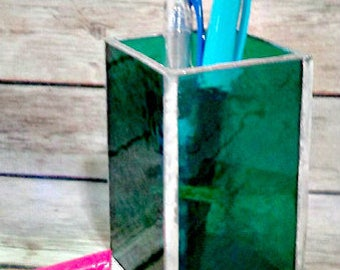 Pen Holder, stained glass office supply, Desk Accessory