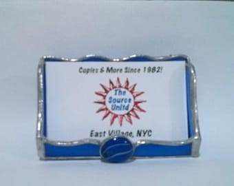 Business Card Holder, stained glass office supply, Desk Accessory