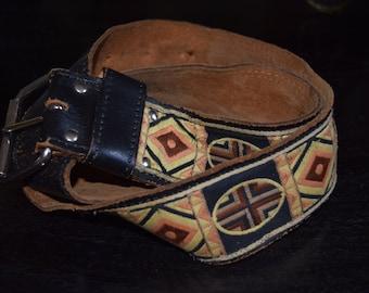 Vintage Leather and Cloth Belt