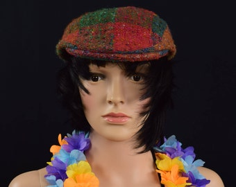 Vintage Retro Newsboy Cap Hat - Hand Woven Studio Donegal Spinner and Handweavers Hat - Wool Cap - Made in Ireland