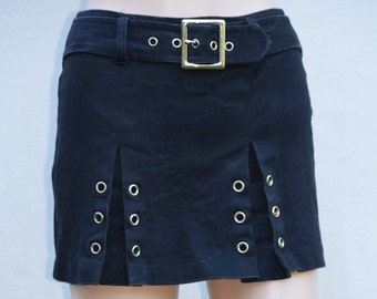 Black Vintage Frederick's of Hollywood Rocker Skirt from the 80s/ Made in USA