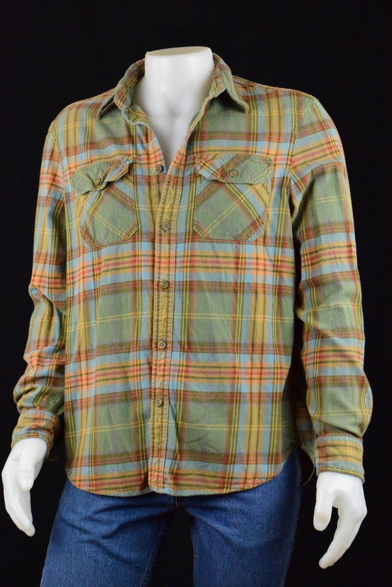 Mens Shirt Button Down 90's Style Eddie Bauer Classic Casual Plaid Shirt Seattle USA Size Large