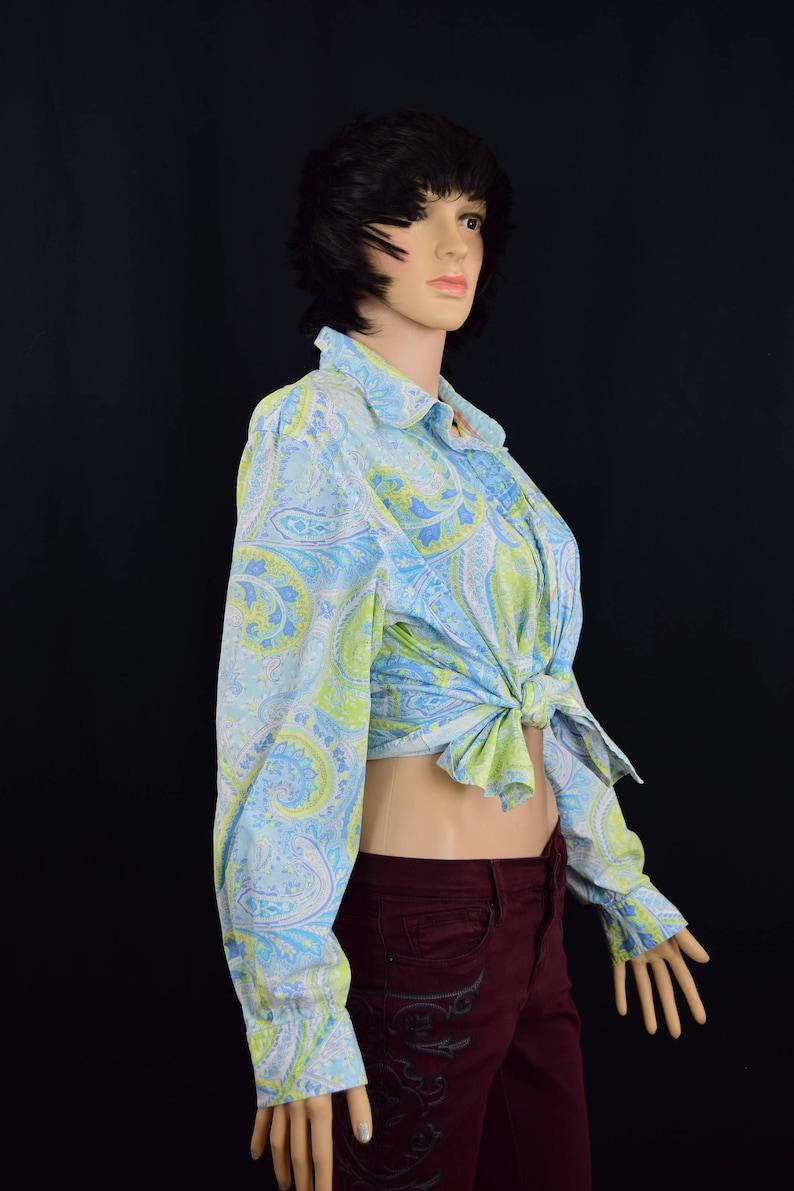 Women Paisley Shirt Size XL Stretchy Paisley Top  Blouse Van Heusen Women Paisley Blouse